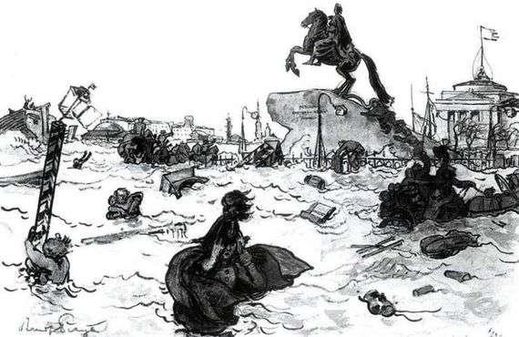 Иллюстрация к поэме Пушкина «Медный всадник» работы Александра Бенуа