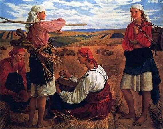 Описание картины Зинаиды Серебряковой «Жатва»
