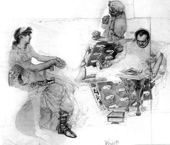 Описание картины Михаила Врубеля «Пирующие римляне»