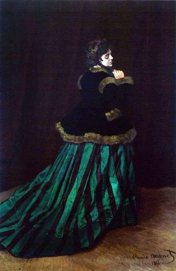 Описание картины Клода Моне «Дама в зеленом платье»
