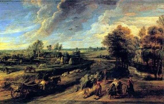 Описание картины Питера Рубенса «Возвращение крестьян с поля»