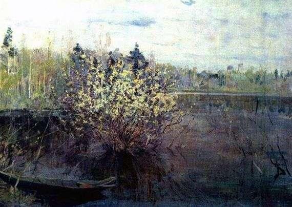 Описание картины Николая Ромадина «Вербы в половодье»