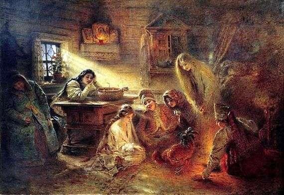 Описание картины Константина Маковского «Святочное гадание на жениха»