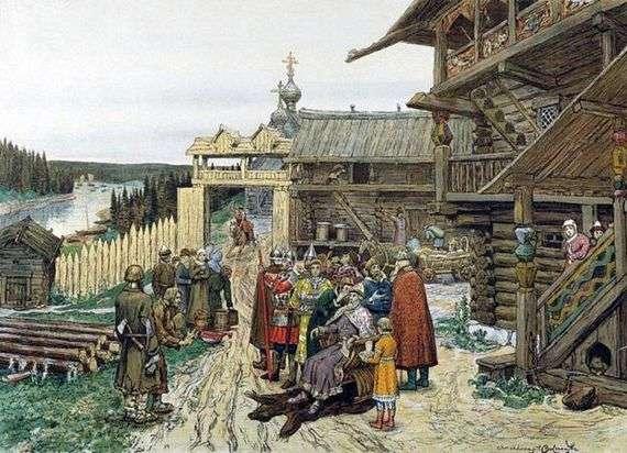 Описание картины Аполлинария Васнецова «Двор удельного князя»