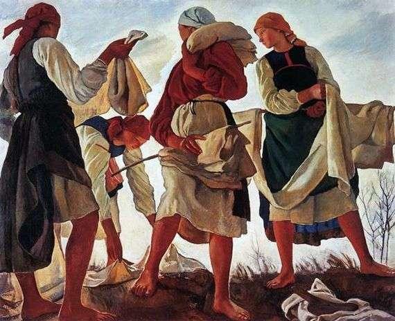 Описание картины Зинаиды Серебряковой «Беление холста»