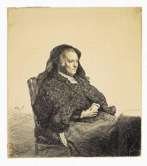 Описание картины Рембрандта Харменса Ван Рейна «Портрет матери Рембрандта, сидящей за столом»