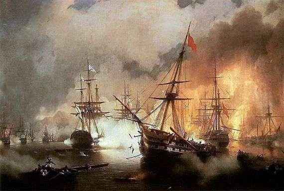 Описание картины Ивана Айвазовского «Наваринский бой»
