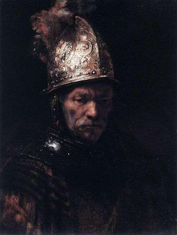 Описание картины Рембрандта Харменса ван Рейна «Мужчина в золотом шлеме»