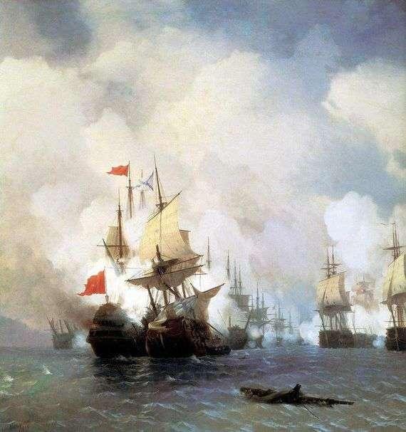 Описание картины Ивана Айвазовского «Бой в Хиосском проливе»