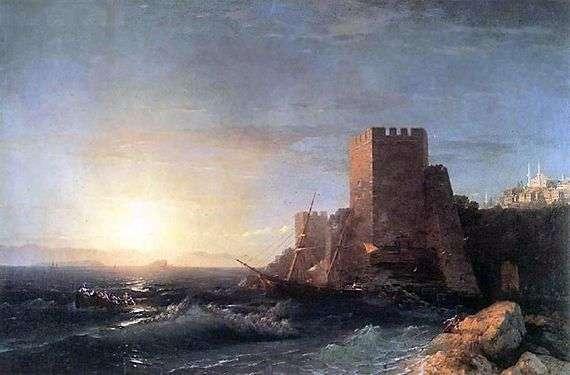 Описание картины Ивана Айвазовского «Башни на скале у Босфора»