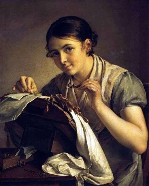 Описание картины Василия Тропинина «Кружевница»