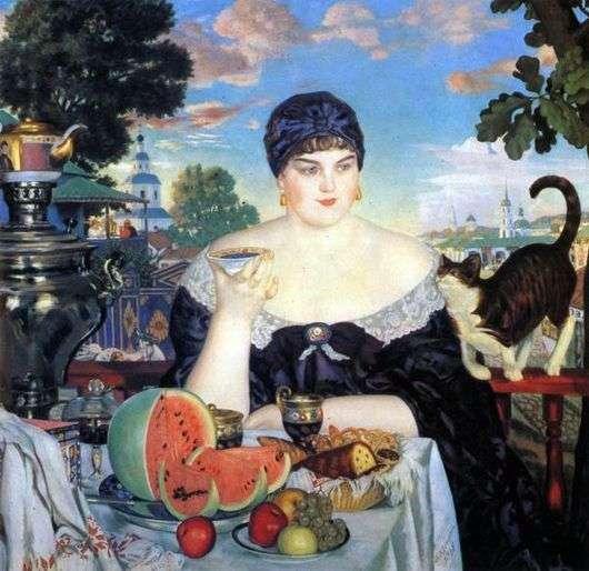 Описание картины Бориса Кустодиева «Купчиха за чаем»