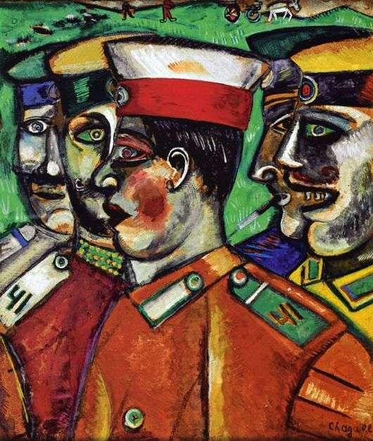 Описание картины Марка Шагала «Солдаты»