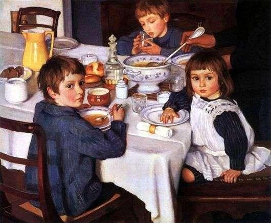 Описание картины Зинаиды Серебряковой «За обедом» (За завтраком)