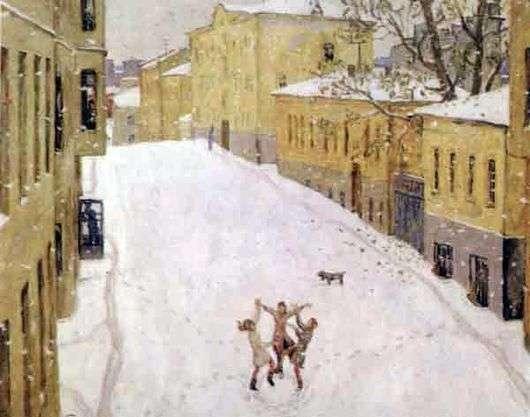 Описание картины Попова «Первый снег»