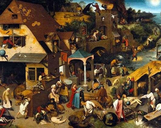 Описание картины Питера Брейгеля «Фламандские пословицы»