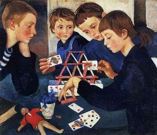 Описание картины Зинаиды Серебряковой «Карточный домик»
