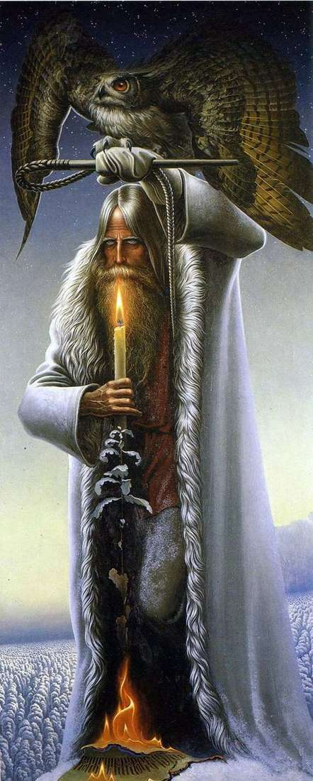 Описание картины Константина Васильева «Человек с филином»