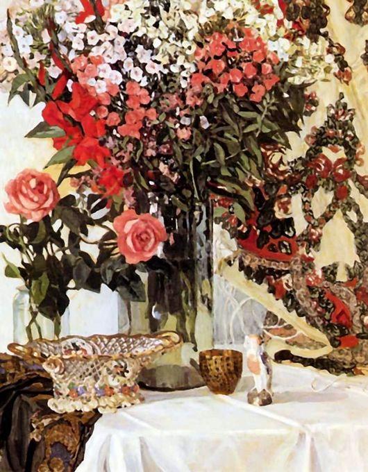 Описание картины Александра Головина «Цветы в вазе»