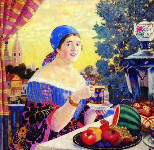Описание картины Бориса Кустодиева «Чаепитие»