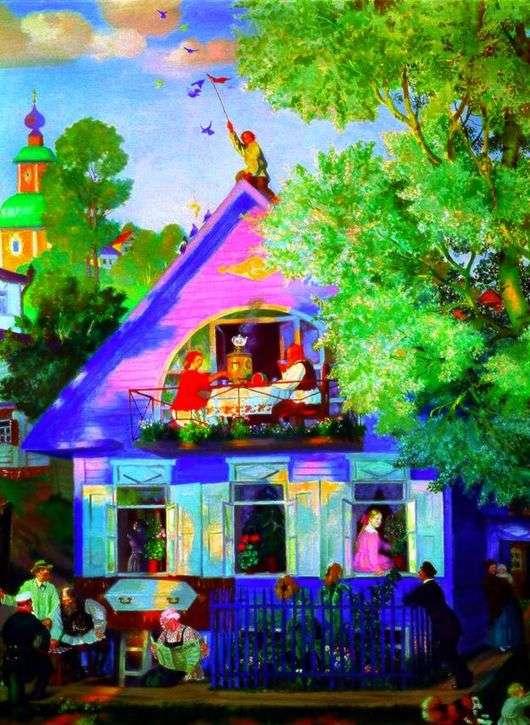 Описание картины Бориса Кустодиева «Голубой домик»